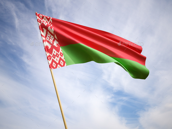 Waving the national flag of Belarus - Stock Photo - Images