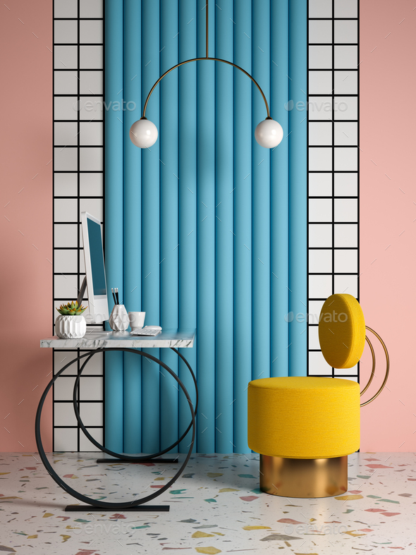 Memphis style conceptual interior Home office 3 d illustration - Stock Photo - Images