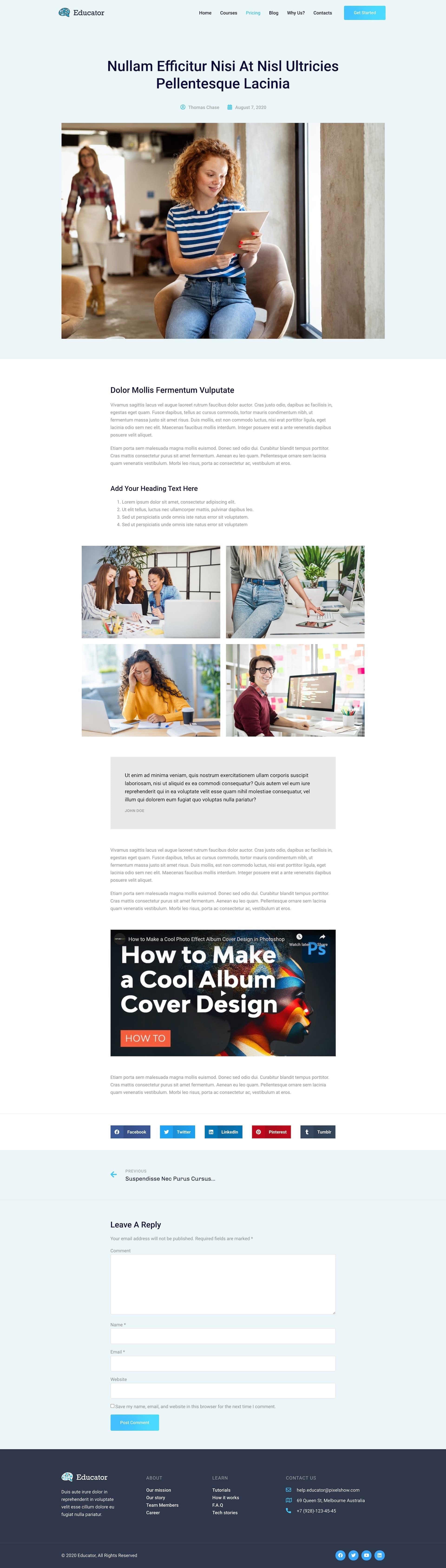 Educator Online University Courses Elementor Template Kit By Pixelshow
