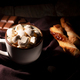 Hot chocolate with cinnamon and marshmallow on wooden background - PhotoDune Item for Sale