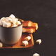 Hot chocolate with marshmallow and crusty buns on dark background - PhotoDune Item for Sale