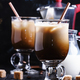 Ice coffee in glasses on a dark background, selective focus - PhotoDune Item for Sale