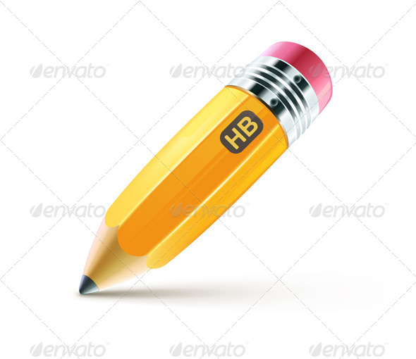 Yellow pencil  - Objects Vectors