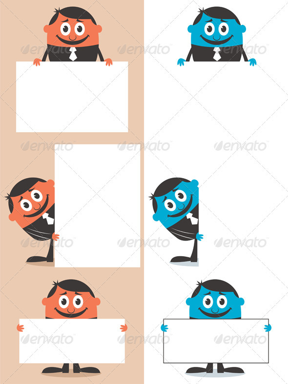 Businessman Behind Sign - People Characters