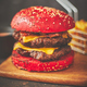Delicious burger with red bun - PhotoDune Item for Sale