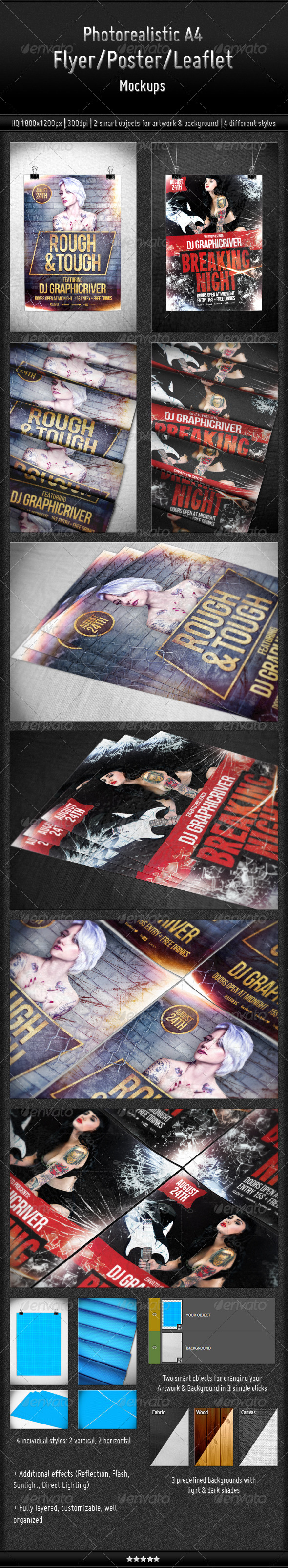 Photorealistic A4 Flyer/Poster/Leaflet Mockups - Flyers Print