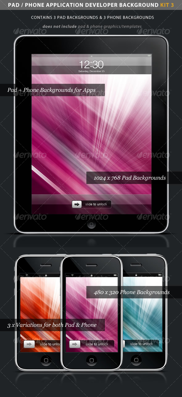 iPad / iPhone App Developer Kit 3 > Color Rays - Backgrounds Graphics