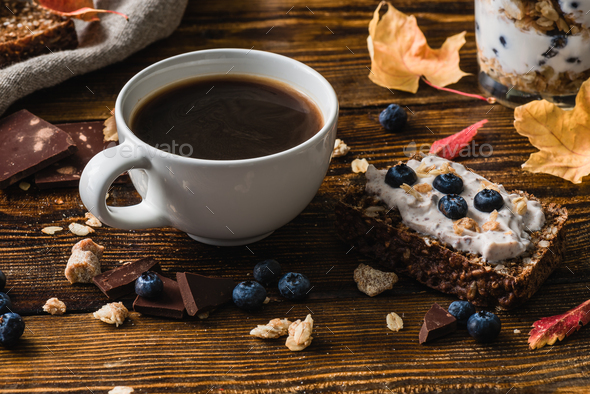 Cup of Coffee with Blueberry Toast - Stock Photo - Images