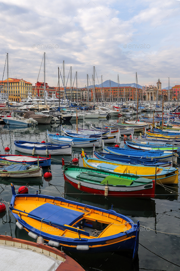Colorful boats in the port of Nice, Cote d'Azur, French Riviera - Stock Photo - Images