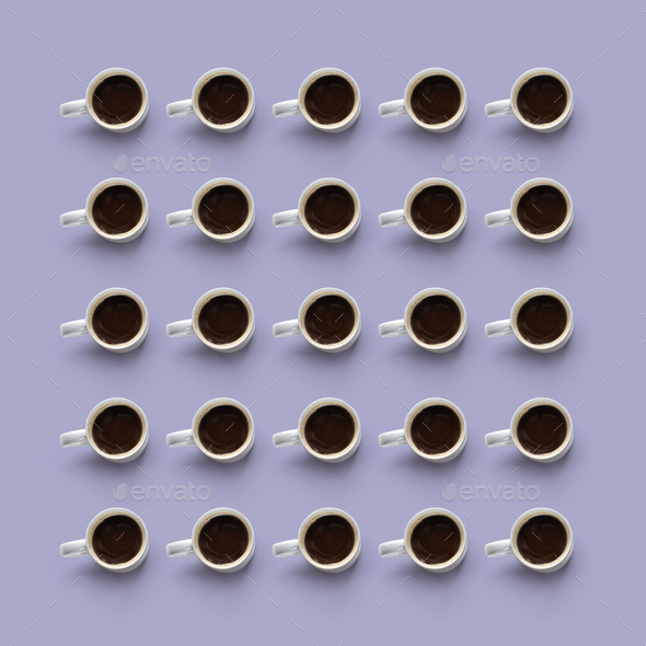 Flat lay of coffee cups forming a square - Stock Photo - Images