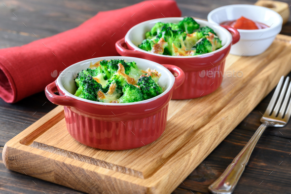 Baked broccoli with cheese - Stock Photo - Images