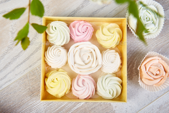Gift box with homemade pastel multi color marshmallows. - Stock Photo - Images