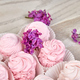 Violet sweet homemade marshmallow from blackcurrant near lilac flowers - PhotoDune Item for Sale