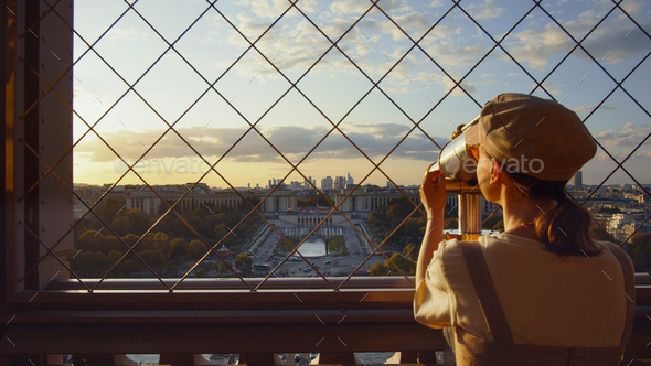 Attractive girl at viewpoint in Paris - Stock Photo - Images