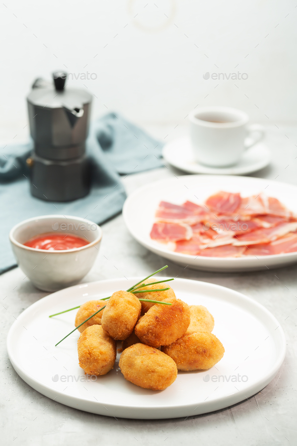 Tapas croquettes, traditional Spanish or French snack - Stock Photo - Images