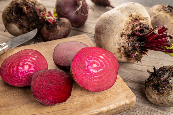 Red beet root on wooden table - Stock Photo - Images