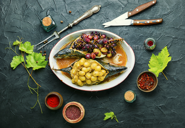 Baked mackerel with grapes - Stock Photo - Images