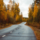 Beautiful moody scene of highway through Autumn forest. - PhotoDune Item for Sale