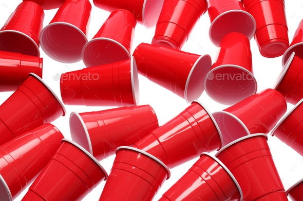 Red Plastic Cups - Stock Photo - Images