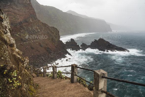 La Palma Nogales Bay During Storm, Spain - Stock Photo - Images