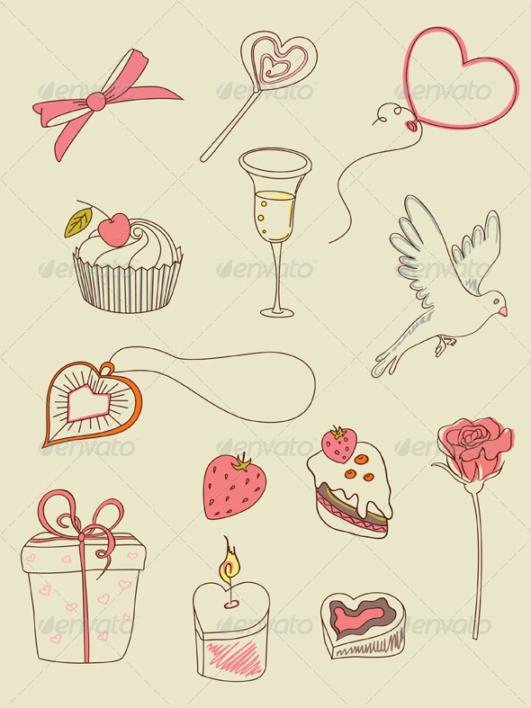 Doodle Valentine's Day Icons - Valentines Seasons/Holidays