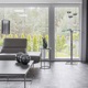 Big window in trendy grey living room interior of suburban house - PhotoDune Item for Sale