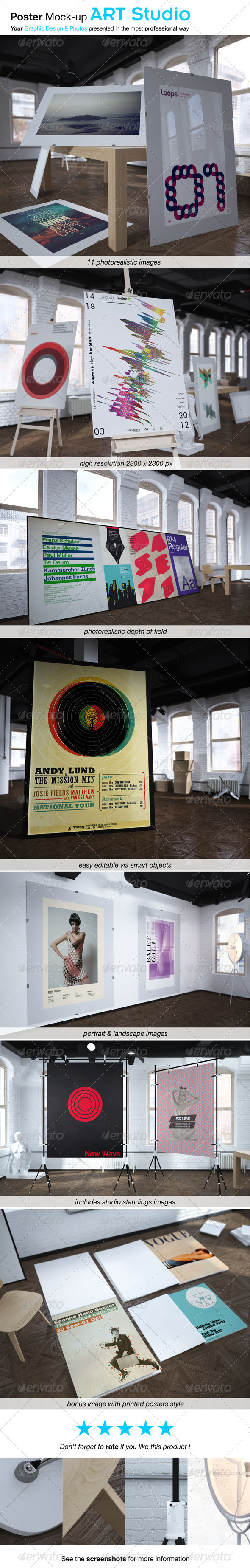 Poster Mock-up ART STUDIO - Posters Print
