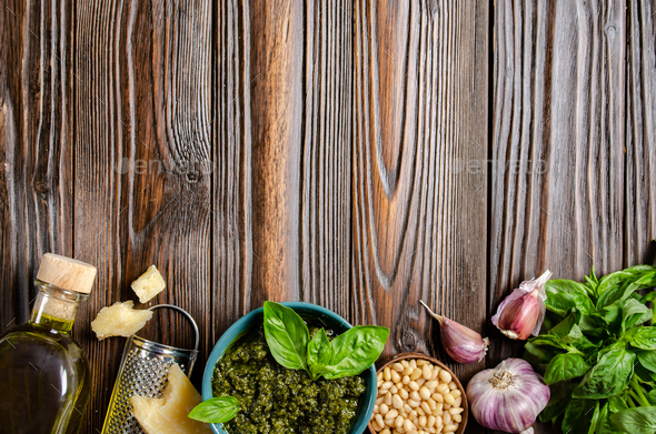 Flat lay food background of genovese pesto