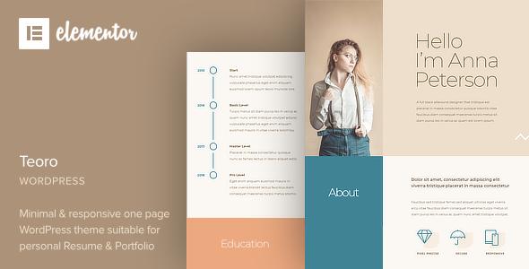 Teoro - CV Resume WordPress Theme