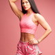 fitness woman posing isolated on pink background - PhotoDune Item for Sale