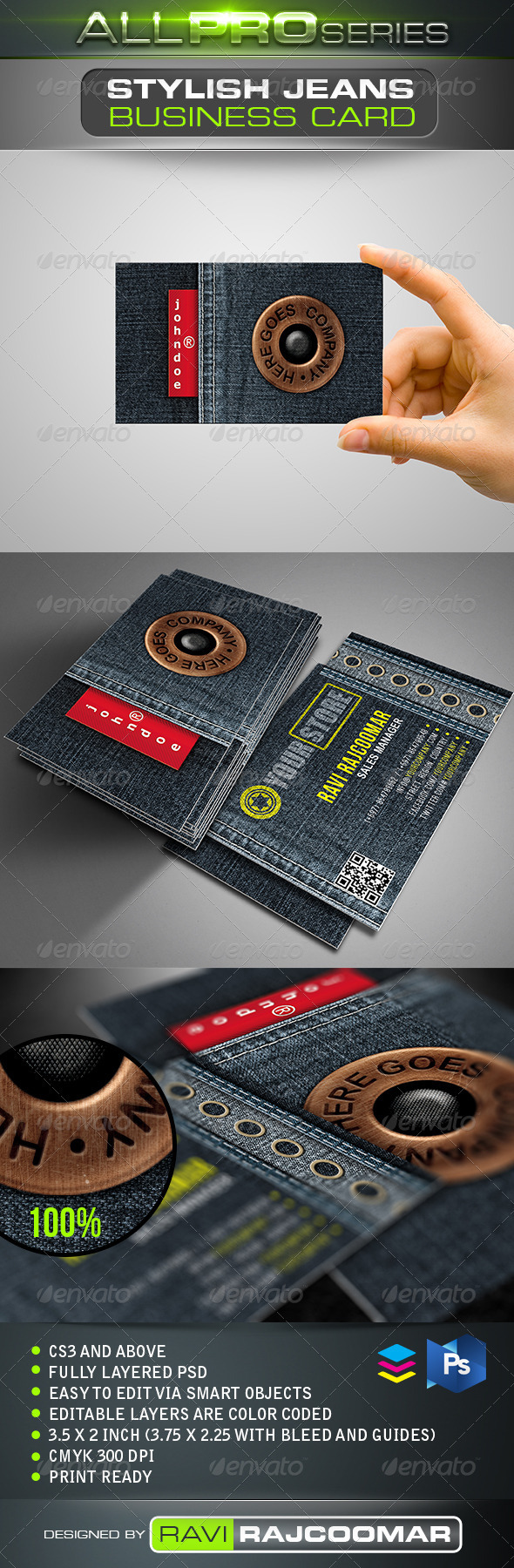 Stylish Jeans Business Card - Real Objects Business Cards