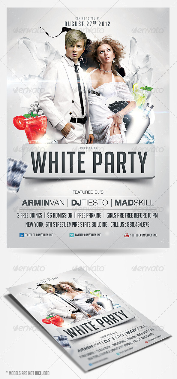 White Party Flyer Template By Saltshaker911 Graphicriver