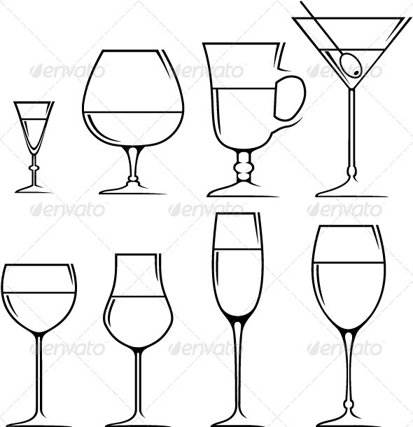Set of symbols and icons glasses  - Objects Vectors