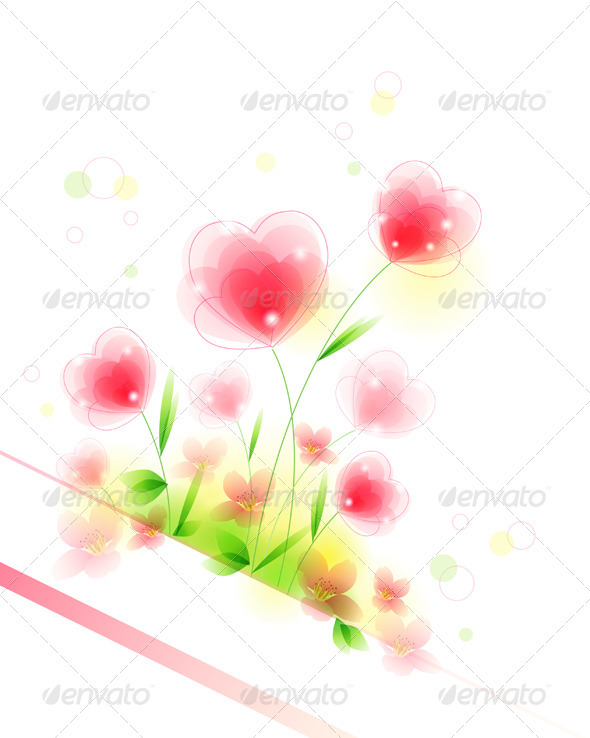 Floral Background with Hearts - Flowers & Plants Nature