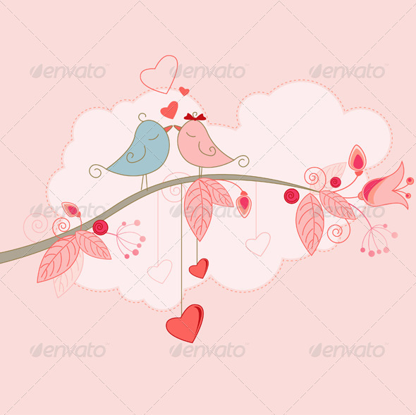 Valentine's Day Greeting Card with Birds - Valentines Seasons/Holidays