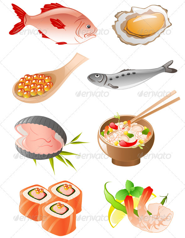 Set of  Seafood Icons - Food Objects