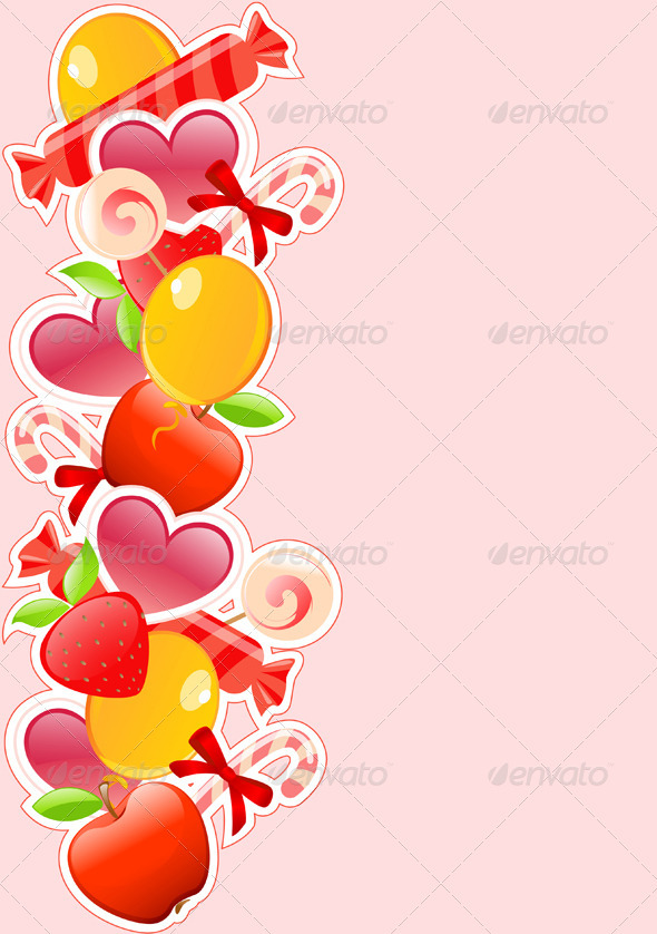 Holiday Background with Candy and Fruits - Backgrounds Decorative