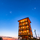 Wooden Lookout Tower in Dobrowka near tarnow in Poland. Illuminated at Sunrise. Tourist Attraction - PhotoDune Item for Sale