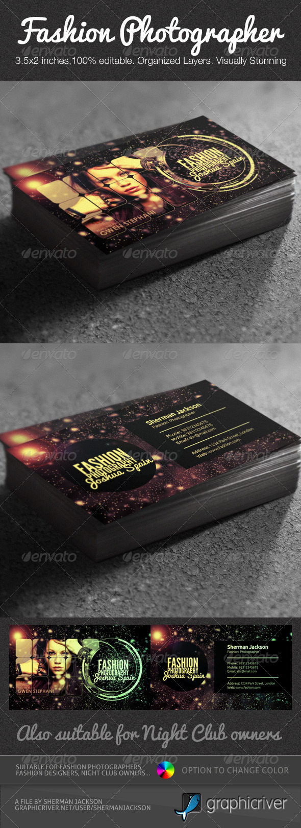 Creative fashion photographer business card psd by shermanjackson creative fashion photographer business card psd industry specific business cards reheart Images