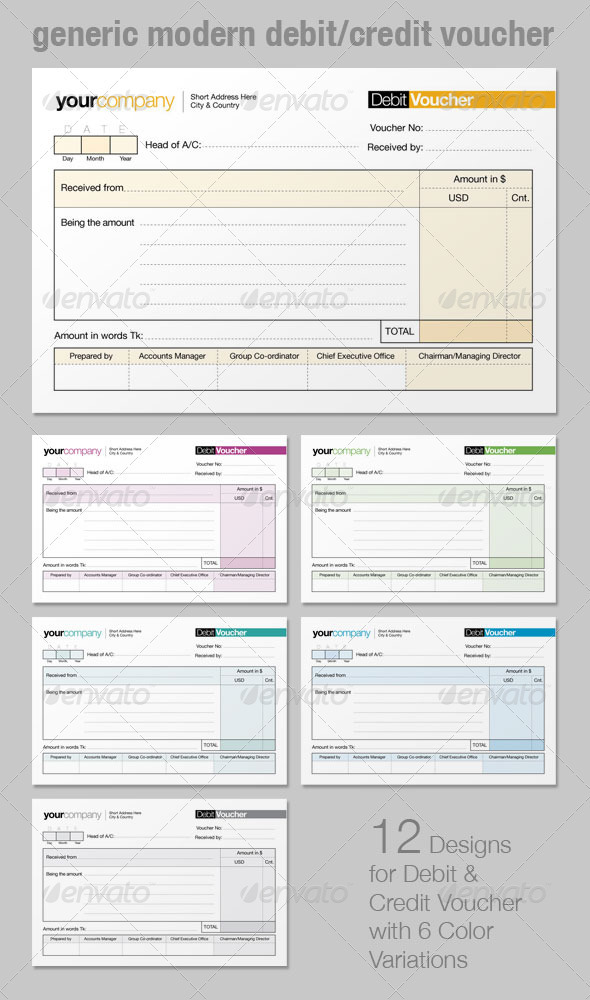 Generic Modern Debit/Credit Voucher - Miscellaneous Print Templates