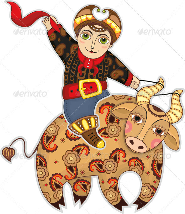 Man Bull Rodeo Isolated - Characters Vectors