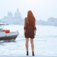 Travel tourist woman on pier against beautiful view on venetian chanal in Venice, Italy - PhotoDune Item for Sale