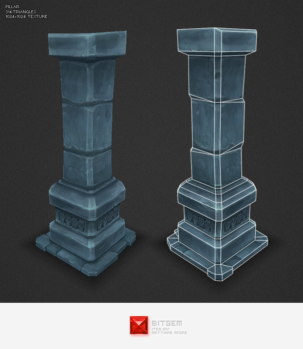 Low Poly Dungeon Pillar By Bitgem 3docean