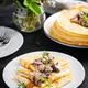 Pancakes with mushrooms.  Homemade baking. Maslenitsa week. Maslenitsa. - PhotoDune Item for Sale