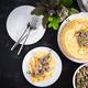 Pancakes with mushrooms.  Homemade baking. Maslenitsa week. Maslenitsa. Top view, copy space - PhotoDune Item for Sale