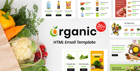 Grocery - Multipurpose Responsive Email Template 30+ Modules Mailchimp
