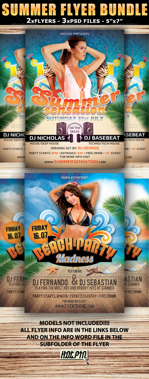 Summer Party Flyer Template Bundle By Hotpin Graphicriver