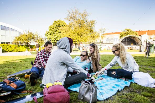 Happy friends enjoying picnic at park - Stock Photo - Images