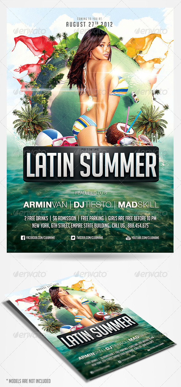 Latin Summer Party Flyer - Clubs & Parties Events