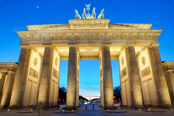 The Brandenburger Tor at sunset  - Stock Photo - Images